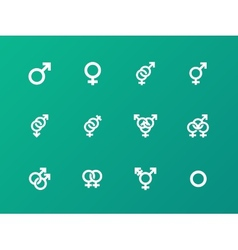 Gender symbol icons on green background vector image