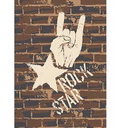 rock sign brick wall vector image vector image