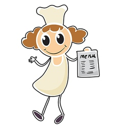 A chef holding a paper with a menu vector image
