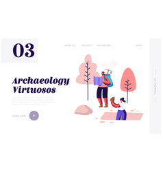 Archeology scientists working on excavations vector