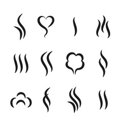 Aroma steam icons warm vapour and cooking smell vector