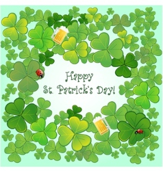Background for StPatricks Day with clovers vector image