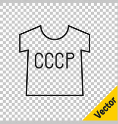 black line ussr t-shirt icon isolated on vector image