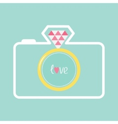Blue photo camera with gold wedding ring lens vector image