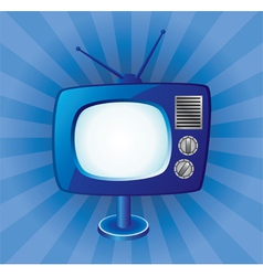 blue retro tv set vector image