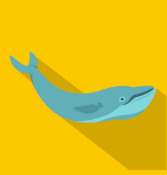 Blue whale icon flat style vector