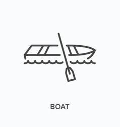 boat flat line icon outline vector image