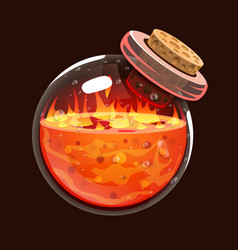 Bottle of fire game icon of magic elixir vector