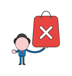 businessman character holding shopping bag with x vector image