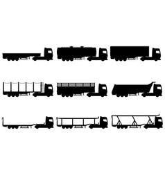 cargo trucks silhouette 02 vector image