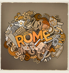 Cartoon cute doodles hand drawn rome inscription vector