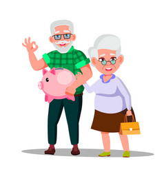 Character man and woman with pension saving vector