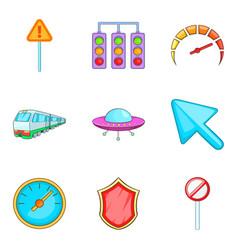 City daily navigation icon set cartoon style vector