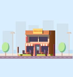 City street cafe building flat vector