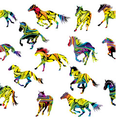 colorful silhouettes horses seamless background vector image