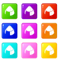 Conic tent icons set 9 color collection vector