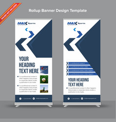 Corporate dark and light blue rollup banner vector