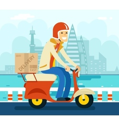 Courier delivery on scooter symbol icon concept vector