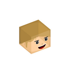 Cube box transparent isometric cartoon character vector