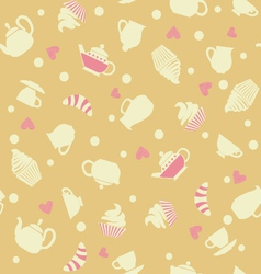 cupcakes tea cups background vector image
