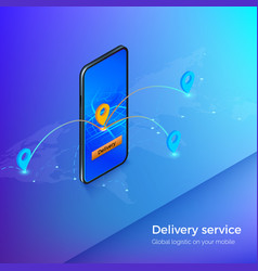 delivery service or mobile shipping app banner vector image
