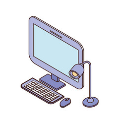 Desktop computer screen with keyboard and mouse vector