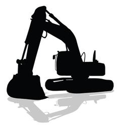 Digger work machine black silhouette vector