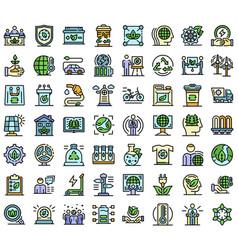 ecologist icons set line color vector image