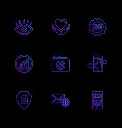 Eye heart gear graph folder mobile sheild vector