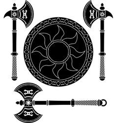 Fantasy shield and swords vikings vector