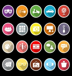 Favorite and like flat icons with long shadow vector image