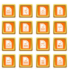 file format icons set orange vector image