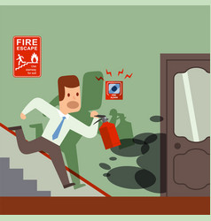 Fire in office man with extinguisher running to vector
