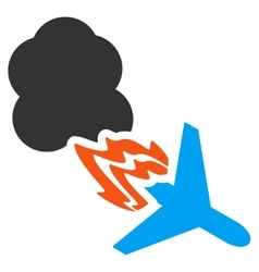 Fired airplane icon vector