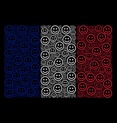 France flag collage of glad smiley icons vector