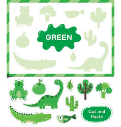 Green color cut elements and match them with vector