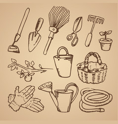 hand drawn sketch of gardening vector image