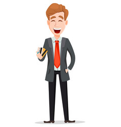 Handsome businessman in suit holding credit cards vector