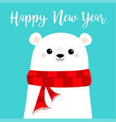 happy new year candy cane polar white bear cub vector image