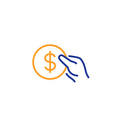 hold coin line icon dollar currency vector image