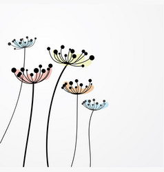 ink drawing wild flowers vector image