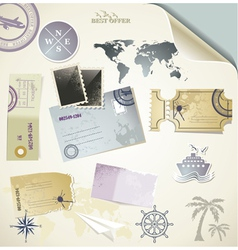 journey - paper objects for your travel vector image