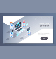 laptop screen financial chart statistic data vector image