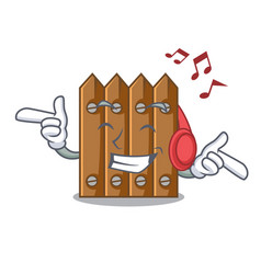 Listening music cartoon wooden fence over the vector
