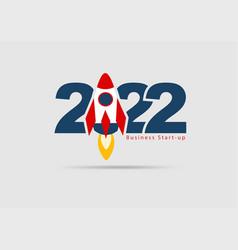 Logo 2022 new year rocket launch start up vector