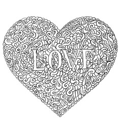 love valentines day composition in doodle style vector image vector image