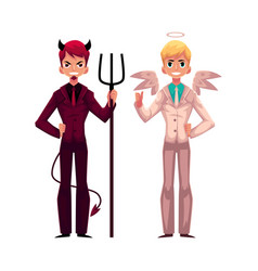 Male angel and devil in business suits decision vector