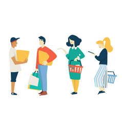 man and woman shopping bags and box supermarket vector image