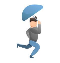 Man running with umbrella icon cartoon style vector