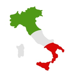 Map of Italy with flag vector